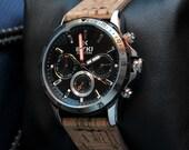 Mens Calendar Watch, Handmade Cork Bands, Quartz Watch, Valentine Gift, Anniversary Gift, Sports Watch, Unisex, GEQC-BD01