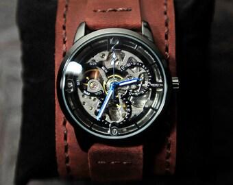 Mens Skeleton Watch, Automatic Watch, Groomsmen Gift, Anniversary Gift, Steampunk, Unisex, Graduation Gift, GEML-SD02