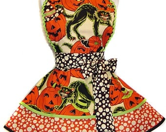 "Alexander Henry Pumpkin Party #1 READY TO SHIP Retro Pinup Halloween Apron--A ""Tie Me Up Aprons"" Exclusive Limited Edition"