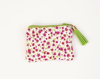 Coin Purse Zipper Pouch - Green Pink Floral