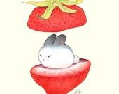 Art Print - In Season - 8x10 Strawberry Bunny