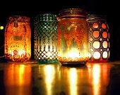 Bohemian Hanging Lantern, Mason Jar Candle Holder with Pale Aquamarine Tinted Glass and Moroccan Styled Copper Detailing