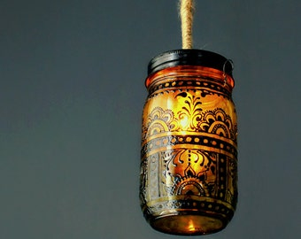 Hanging Mason Jar Lantern, Blackened Henna Patterns Hand Painted on Canary Yellow Glass, Eclectic Votive Holder with Wire Handle