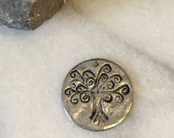 SILVER Tree of Life Disc / Silver Charm / Silver Tree of Life / Silver Tree Charm / Silver Tree Disc / Hammered Tree Disc / Pewter Charm