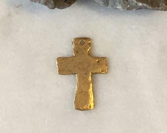 GOLD Primitive Hammered Cross, Hammered Cross Charm, Hammered Cross, Cross Charm, Cross Pendant, Gold Cross, Cross, Jewelry Supplies