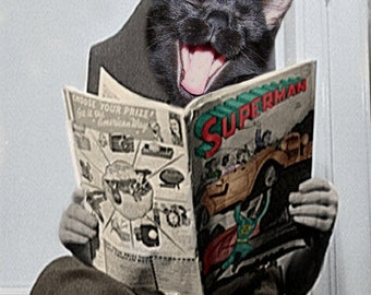 Jimmy, Vintage Cat Print, Anthropomorphic, Altered Photo, Black Cat Art, Photo Collage, Whimsical Art, Gift Idea, Superman, Funny Cat