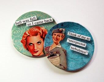 Funny Coasters, Coasters, Sassy Women, Drink Coasters, Hostess Gift, Funny Gift, Funny women, turbulence, Hell was full, Retro (5198f)