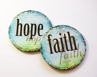 Coasters, Hope, Faith, Drink Coasters, Housewarming Gift, Wedding Shower Gift, Hostess Gift, Blue, Green, Set of Coasters (5203b)