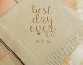 50 Dinner Personalized Best Day Ever Light Burlap Brown Rustic Wedding Napkins with Coffee ink and couples initials