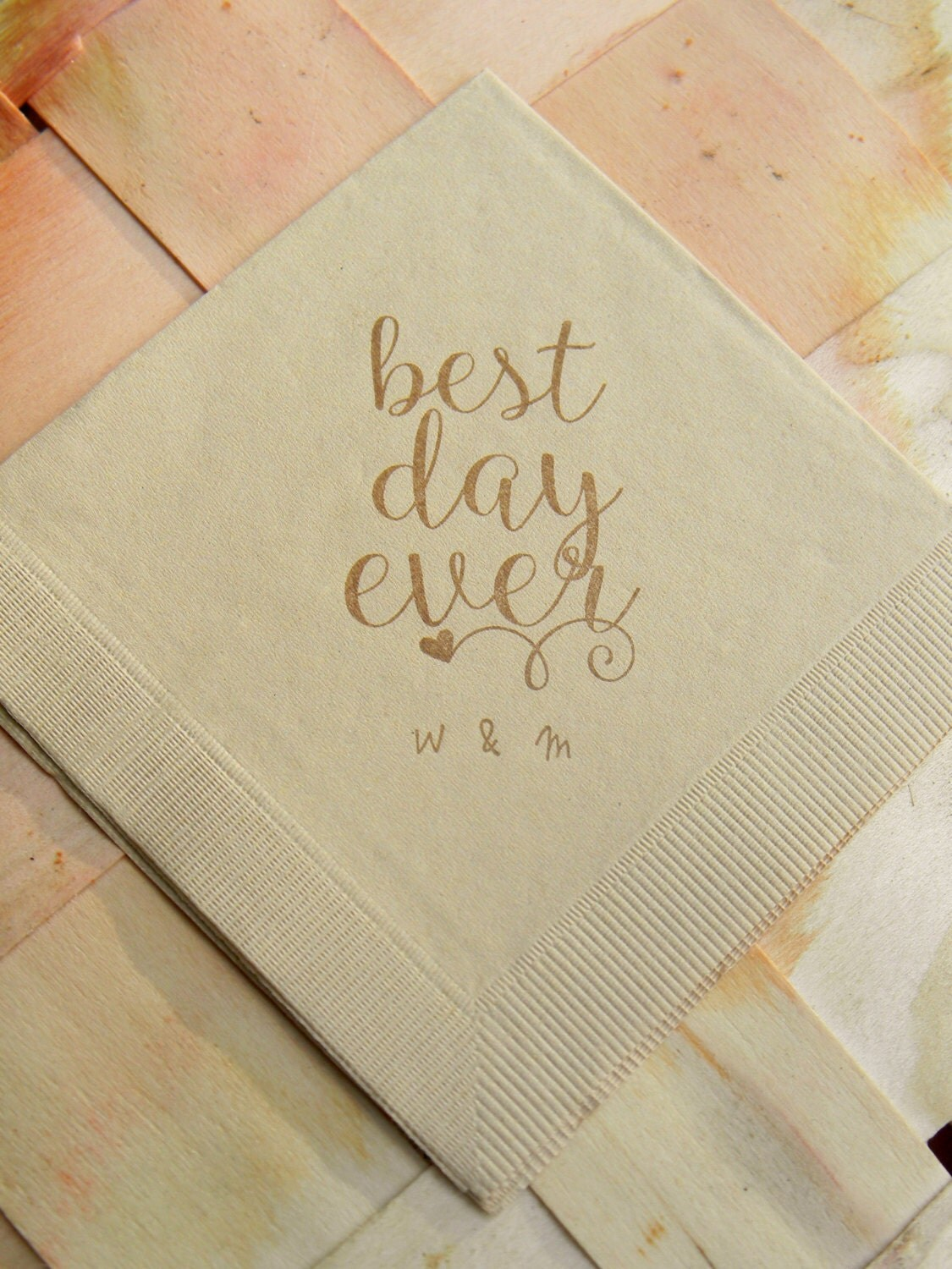 Personalized best day ever light burlap brown rustic wedding for Printed wedding napkins