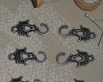 Set of Six of Dirndl Hooks Feather Fan Pewter Finish