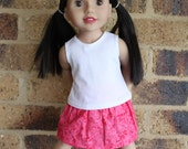 LAST ONE Lets Play 3pc outfit - Bright Pink & white Tank top, Skirt, Bike Pants - Dolls clothes to fit Australian Girl dolls