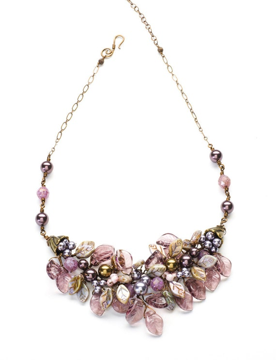 Purple Bridal Necklace, Floral Burgundy Statement Necklace, Leaf Necklace, Nature Jewelry