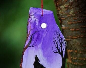 Wolf Moon - Slate Painting.
