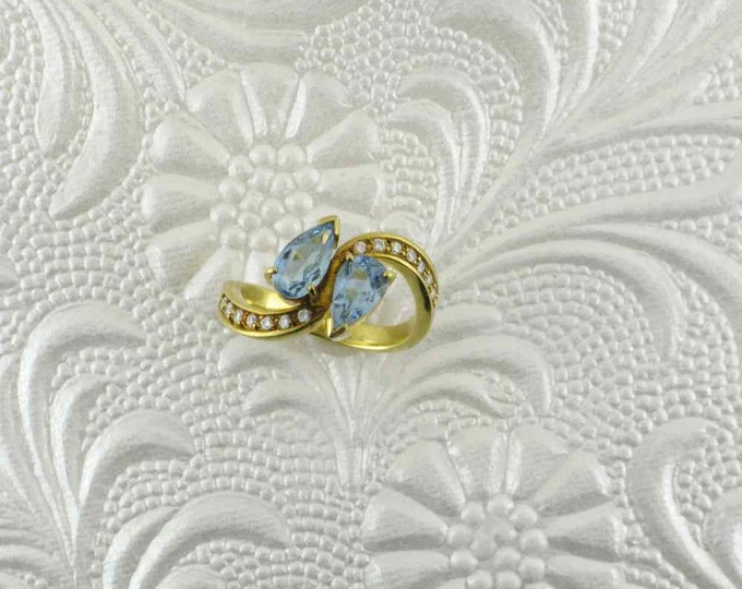 Double Pear Shaped Blue Topaz and Channel Set Diamond Bypass Ring; Fashion Ring; Statement Ring