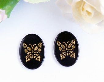 Vintage Butterfly Black and Gold Cabochons - Art Deco (2) pcs