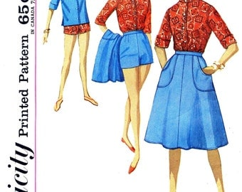 Simplicity 4899, Bust 36, early 60's, wrap skirt, shorts and top sewing pattern