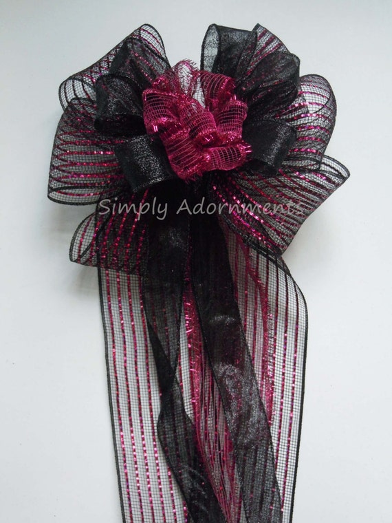 Pink Black Wreath bow Pink Black Halloween Wreath Bow Halloween Mailbox Bow Halloween Party Decor Trick or Treat Wreath Bow Door hanger Bow