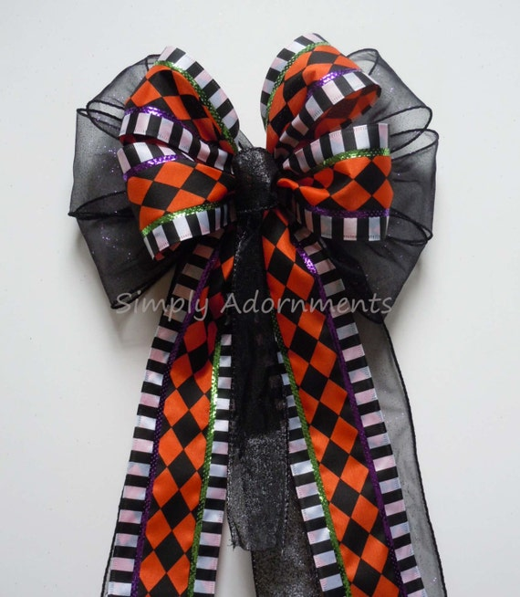 Orange Black Harlequin Bow Black Orange Halloween Harlequin Wreath Bow Harlequin Door Hanger Bow Halloween Party Decoration