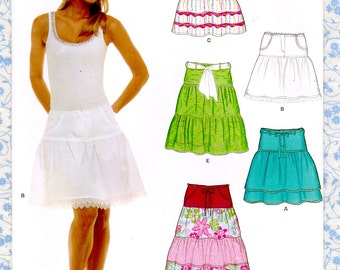 New Look 6568 Misses Ruffle Skirt w/ Yoke Size 6 to 16 UNCUT Womens Sewing Patterns in French English Spanish