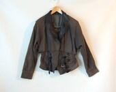 80s Motorcycle Jacket / Gray Suede Jacket / Black Leather Motorcycle Jacket / Cropped Leather Jacket / Peplum Jacket / Egypt / Medium Large