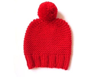 Hand knit beanie, Red beanie hat, chunky knit hat, apple red womens beanie