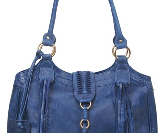 FREE SPIRIT. Blue leather tote / leather shoulder bag / boho leather bag / hippie leather purse / tote Available in different leather color