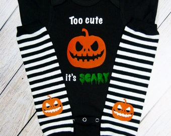 Halloween Baby Boy Clothes Outfit Too Cute Its Scary Pumpkin Bodysuit With Stripe Pumpkin Leg Warmers Options Baby Boy Halloween Gift Set