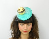 Pillbox Hat Fascinator Headpiece in Mint with Yellow Cupcake and White Veil, Birthday Cockatil Party Hat, Statement Occasion Hair Accessory