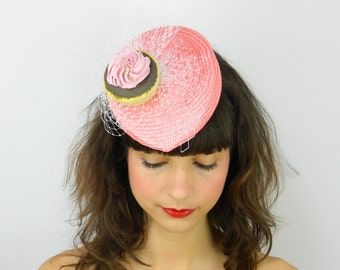 Pillbox Hat Fascinator Headpiece in Coral with Pink Cupcake and White Veil, Birthday Cockatil Party Hat, Statement Occasion Hair Accessory