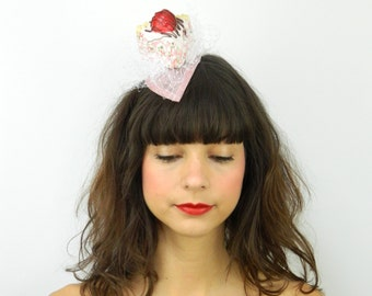 RESERVED!! Fascinator Headpiece with Vintage Shabby Chic Strawberry Cheesecake with White Veil - Cocktail Party Hat Spring Summer Birthday C