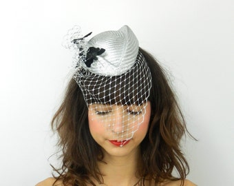Pillbox Hat Fascinator Headpiece in Silver with Feathered Butterflies and Cascading Veil, Statement Cocktail Party Hat, Occasion Headwear