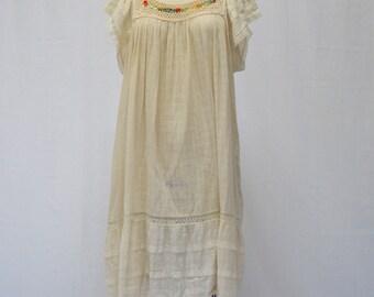Vintage Bohemian Cream Gauze Pueblo Style Dress