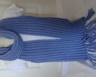 Crochet Chunky and Long Ribbed Scarf in Periwinkle Blue/Lavendar Blue/ Pastel Blue - Ready to Ship
