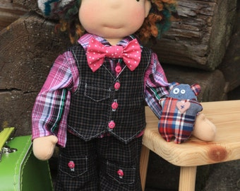 "Waldorf inspired 16"" boy doll Dylan plus his outfits and little stuffed toy,cloth doll,soft doll,stuffed doll,Waldorf doll,soft toy,"