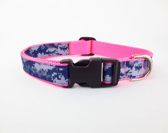 Pink Camo Rhinestone Dog Collar