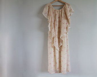 1970s Palest Roses Cotton Capelet Dress / Vintage 70s Floral Butterfly Sleeve Gown