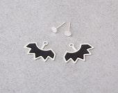 Black Ear Jackets, Silver Ear Jackets, Statement Earrings, Spike Ear Jackets, Punk Earrings, Silver Front To Back Earrings, Black Studs