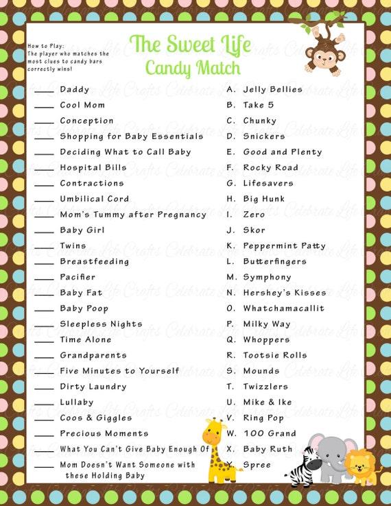 Safari Baby Shower Sweet Life Candy Bar Match Game   Printable Baby Shower  Games   Jungle Safari Baby Boy   Baby Shower Activity N019
