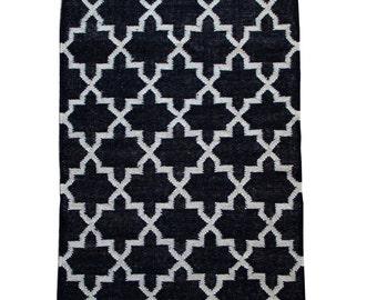 Charcoal Lattice Rug - Fair Trade 100% Wool Hand Woven Kilim Rug - 120cm x 75cm