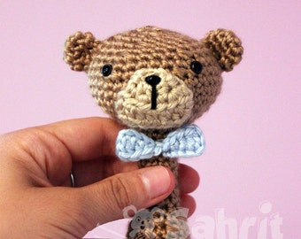 PATTERN Instant Download Bow Tie Teddy Baby Crochet Rattle Toy Bear