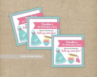 Baking theme favor tags/ Baking theme birthday party |  Printable