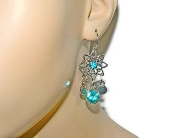Flower Earrings, Short Dangle Earrings