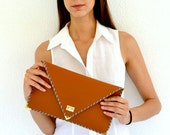 Brown leather clutch / Handmade leather bag / Cinnamon brown Italian leather