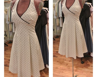 1980s Does 1950s Polka Dot Midi Dress Halter neck Fit and Flare Casual Party Dress Cream and Black Day Dress