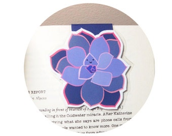 Succulent Magnetic Bookmark (green or purple)