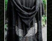 Lace Cloak/Cape with Ribbon Ties and Capelet. Gothic,Vampire, Halloween, Witchy, Elven, Faerie, LARP, Samhain