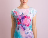 Surreal dragonfly - Chiffon top / Short sleeve top / Short sleeve blouse