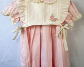 Vintage C.I. Castro and Co.pink Dress and White pinafore Apron top-Size 3t- New, never worn