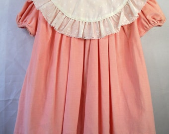 Vintage Pink Velvet Dress with White Lace Collar- New, Never worn